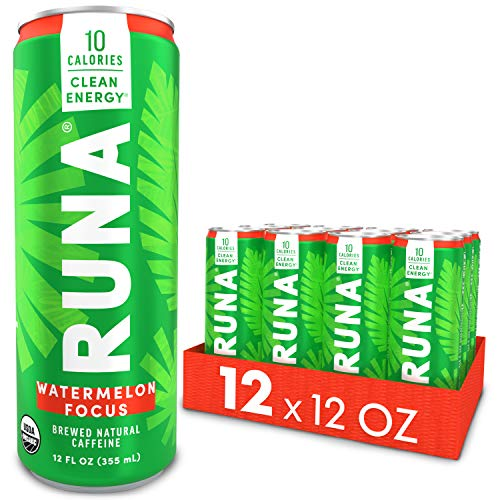 RUNA ZERO Organic Clean Energy Drink, Watermelon | Natural High Caffeine Coffee Alternative | Sustained Energy Boost with No Jitters | Calorie Free & Sugar Free, 12 oz (Pack of 12)