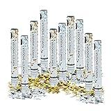 Relaxdays Pack de 10 Cañones Confeti para Bodas, Dorado y Plateado, 6-8 m de Alcance, 40 cm