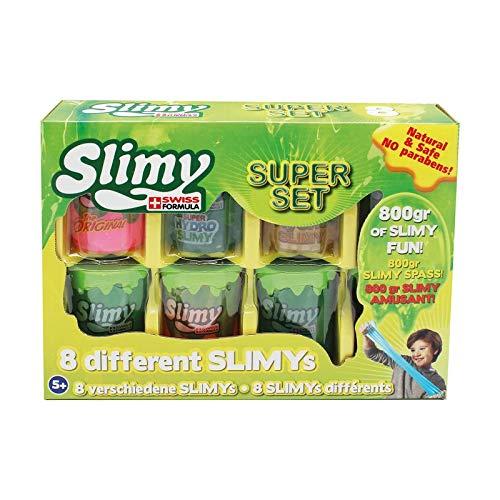 Original Slimy Super Set 8 - 800g - 8 x 100g Becher mit verschiedenen Slimy Slime-Sorten für maximalen Spielspaß