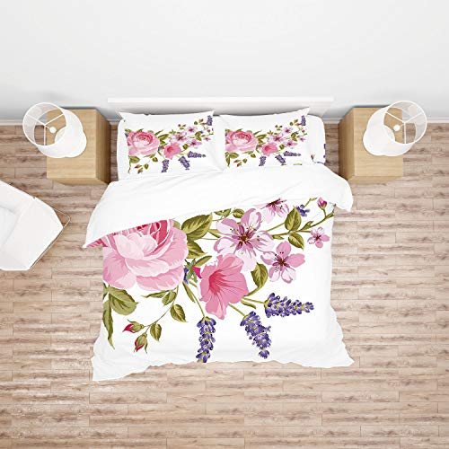 AmaUncle Lavender, Bridal Style Garland of Rose 4Pcs Bedding Set Duvet Cover Set Bedding for Decoration AM020191 (Queen)