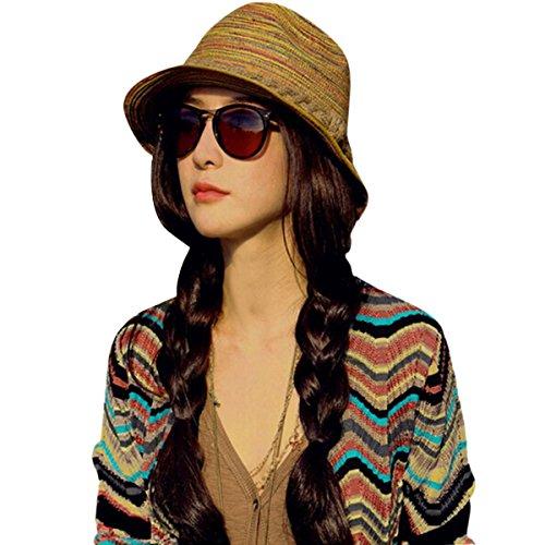 ZUMUii Butterme Striped Straw Homburg Sombrero Corto Brim Plegable Sombrero Playa Tiene Cubo Sombrero Sombrero de Paja Sombrero de Verano Sol Sombrero del ala schlapp Sombrero para Mujer Mujeres Ni?a