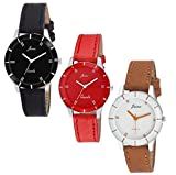 JAINX Analogue Women's Watch (Black, Red & White Dial, Black, Red & Brown Colored Strap) (Pack of 3)