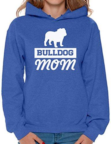 Awkward Styles Women's Bulldog Mom Graphic Hoodie Tops Dog Lover Mom's Gift Blue L