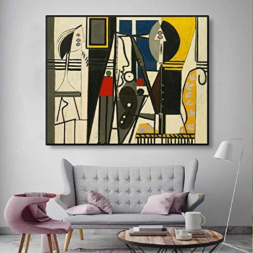Pintor y modelo de Picasso Cuadros impresos en lienzo Cuadros de arte de pared abstractos Carteles e impresiones Réplica de obras de arte clásicas 60x90cm Sin marco