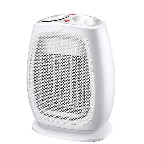 NBVCS Calefacción Auxiliar Espacio Calentador eléctrico con termostato, Calentador de cerámica con asa de Transporte y Tip Interruptor for el hogar y la Oficina (Color : White)