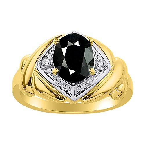 Juego de anillos de oro amarillo de 14 quilates, diseño de diamante y ónix
