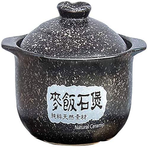 ouruanyang Casseruola Casseruola , Pentola Antiaderente, pentola in Ceramica Resistente al Calore Maifan Stone Soup Hot Pot per Cottura lenta Bibimbap Casseruola Nera 3.17Quart Casseruola