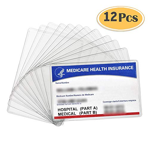 12 Pack New Medicare Card Holder Protector Sleeves, 12Mil Clear PVC Soft Waterproof Medicare Card Protector for New Medicare Card Credit Card Business Card, Heavy Duty Card Sleeves