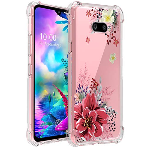 Osophter for LG G8X Thinq Case,LG V50S Thinq Case Floral Flower Girls Shock-Absorption Flexible Cell Phone Full-Body Protective Cover for LG G8X Thinq/V50S Thinq(Red Flower)