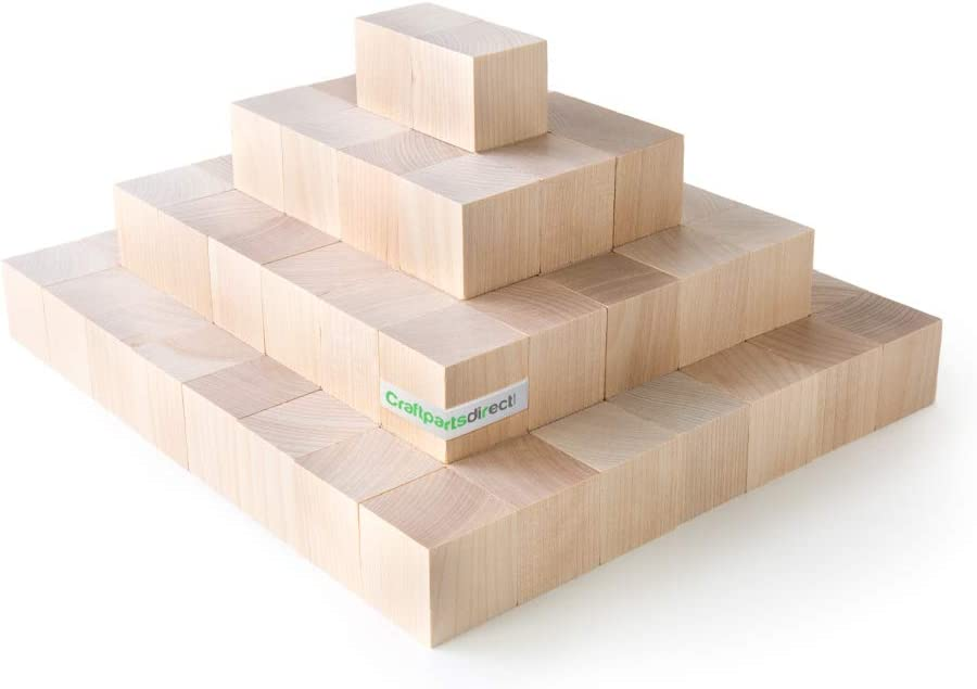 3/4 inch Wood Blocks | Natural Unfinished Craft Wooden Cubes -by CraftpartsDirect.com | Bag of 100