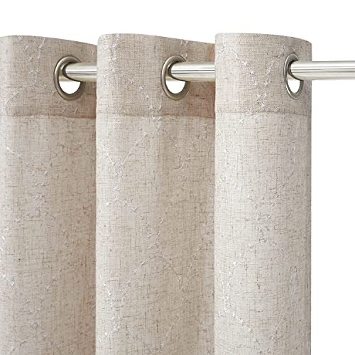AUFENLLY Embroidery Linen Curtain 84 inch Length 1 Panel Boho Curtains for Living Room Curtains White Linen Curtains Bohemian Curtain for Girls Bedroom, Beige and Gold (1 Panel 52 x 84 Inch)