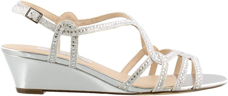 NINA FOOTWEAR Women's, Fynlee Wedge Sandals Silver 7.5 M