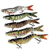 5Pcs Fishing Lures for Bass Trout 5.3'' Multi Jointed Swimbaits Slow Sinking Bionic Lifelike 8 Segments Swimming Bass Lures Freshwater Saltwater Bass Fishing Baits Kit