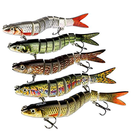 5Pcs Fishing Lures for Bass Trout 5.3'' Multi Jointed Swimbaits Slow Sinking Bionic Lifelike 8 Segments Swimming Bass Lures Freshwater Saltwater Bass Fishing Baits Kit
