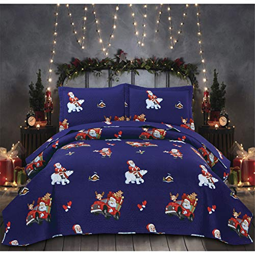3 Pieces Navy Blue Christmas Bedding Quilts Bedspread King Size Lightweight Thin Santa Claus Reindeer Polar Bear with Car Printed Xmas Coverlet Blanket Set