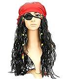 KIRALOVE Pirata del Caribe - Jack Sparrow - Peluca - Bandana - Parche en el Ojo - Disfraces para niños - Halloween - Carnaval - Accesorios - Adultos - Unisex - Idea de Regalo Original Jack Sparrow
