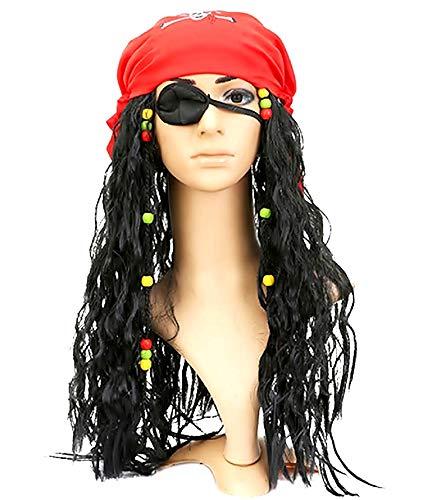 Lovelegis Pirate of The Caribbean Lot - Jack Sparrow - Peluca - Bandana - Parche en el Ojo - Disfraz - Adultos - niños - Halloween - Carnaval - Unisex - Idea de Regalo para Navidad y cumpleaños