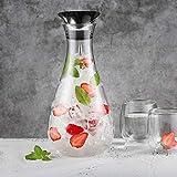 Glastal 1.8L Glaskaraffe Glaskrug aus Borosilikatglas Wasserkrug Wasserkaraffe Glas mit Edelstahl Deckel Karaffe Glaskanne - 7