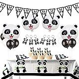 Fiesta de cumpleaños Panda decoraciones Set Panda Pennant Garland Panda llavero Mylar globos para la fiesta de cumpleaños de la niña, Baby Shower