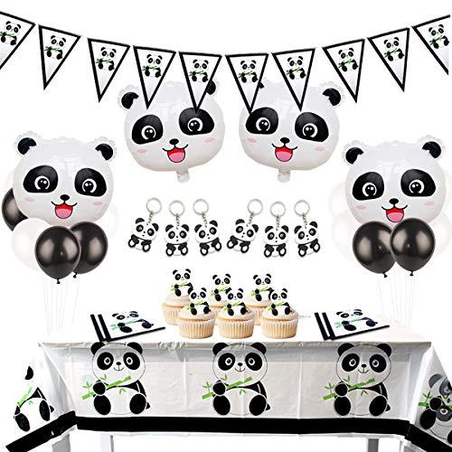 Panda-Dekorationsset für Geburtstagsparty, mit Wimpel-Girlande, Panda-Schlüsselanhänger, Luftballons aus Mylar, für Mädchen, Babyparty