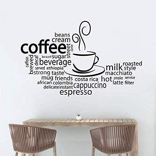 Koffiebeker Muurschildering Keuken Koffie Shop Decoratie Espresso Café Vinyl Sticker Verschillende soorten Koffie Muurstickers 67x42cm