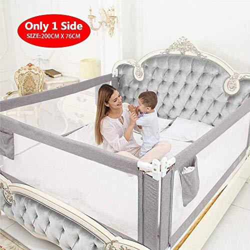 ZEHNHASE Barandilla de La Cama para bebés, Barrera de cama para niños Colchón doble, doble, tamaño completo tamaño queen y king (gris, 200cm, Children: L)