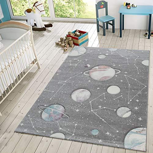 TT Home Kinder-Teppich, Spiel-Teppich Mit Planeten Und Sternen, Für Kinderzimmer In Grau, Größe:80x150 cm