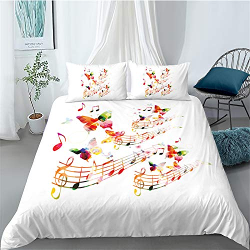 Funda De Edredón Textiles para El Hogar Impresión Digital 3D Color Nota Musical Tejido De Microfibra Agradable para La Piel Suave Y Fácil De Limpiar Traje De 3 Piezas 228x228cm
