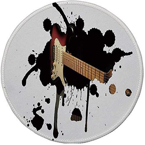 Gummi-Gaming-Mauspad,rutschfestes rundes Mousepad,Popstar-Party,Griffbrett für E-Gitarren auf schwarzer Grunge-Farbspritzer-Kunst,Schwarz-Hellbraun-Creme,20CM