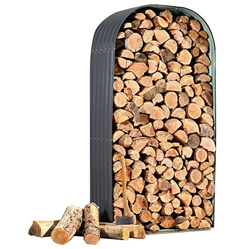 Waltons Metal Log Store Outside Garden Storage Dimensions: W213cm x H117cm (Vertical Log Store, Grey)