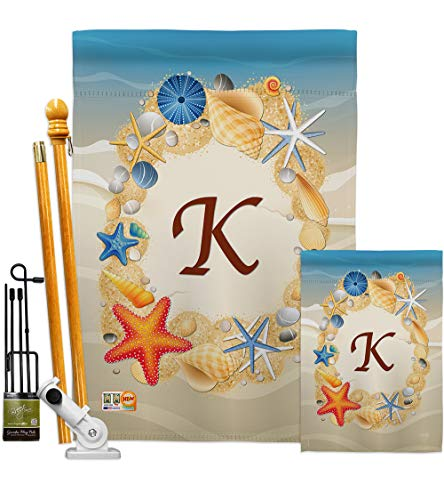 Breeze Decor FK130167-BO Summer K Initial Coastal Beach Impressions Decorative Vertical 28' x 40' Double Sided Flags Kit Printed in USA Multi-Color