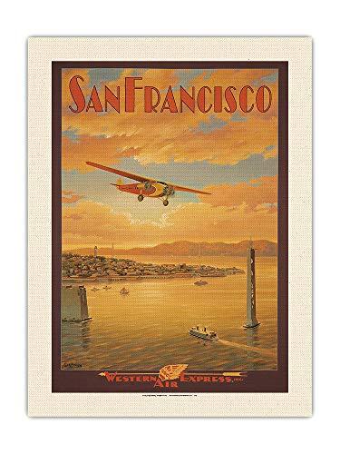 Pacifica Island Art San Francisco - Oakland Bay Bridge, California - Western Air Express - Fokker Trimotor - Poster da viaggio vintage di Kerne Erickson - Tessuto organico RAW 61 x 81 cm