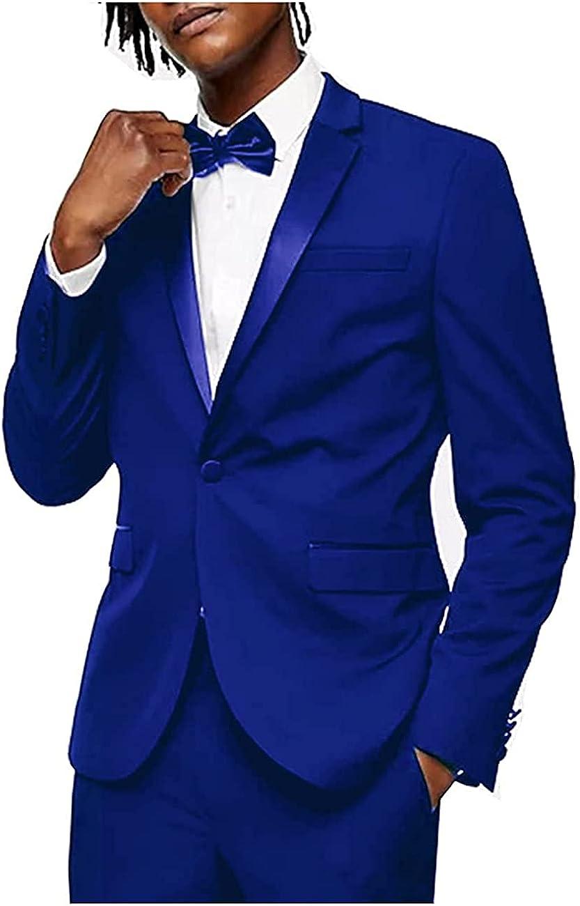 Men's Suits 2 Piece One Button Formal Wedding Grooms Tuxedo Slim Fit Blazer Pants Suit