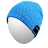 Qshell Bluetooth Beanie, Washable Music Hat Cap with Wireless Stereo Over Ear Headphone Headset Earphone Speaker Microphone Hands Free Compatible with iPhone Ipad Samsung Android Cell Phones - Blue