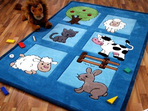 Lifestyle Kinderteppich Bauernhof Blau in 3 Größen !!! Sofort Lieferbar !!!
