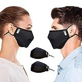 Copper Compression Face Mask - 2 Pack - Highest Copper Content Reusable Face Masks for Men and Women (Black)