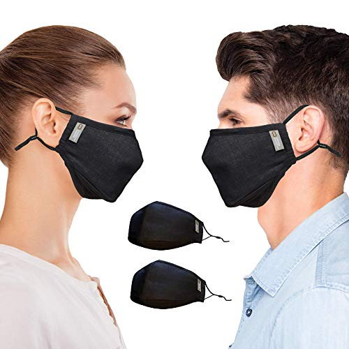 Copper Compression Face Mask - 2 Pack - Highest Copper Content Reusable Face Masks For Men and Women (Black)
