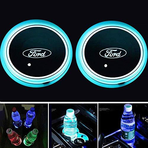 Fitracker 2 STÜCKE 7 Farben LED Auto Getränkehalter Matte Pad Autos Achterbahn Innen Atmosphäre Lichter Dekoration Zubehör
