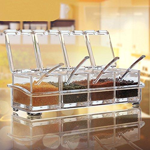 Aiqi - Juego de 4 recipientes para especias (acrílicos, con tapa y cuchara)