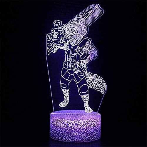 Rocket mapache 3D ilusión lámpara regalo lava Lámparas USB carga para decoración del hogar Cool Toys regalos cumpleaños Navidad