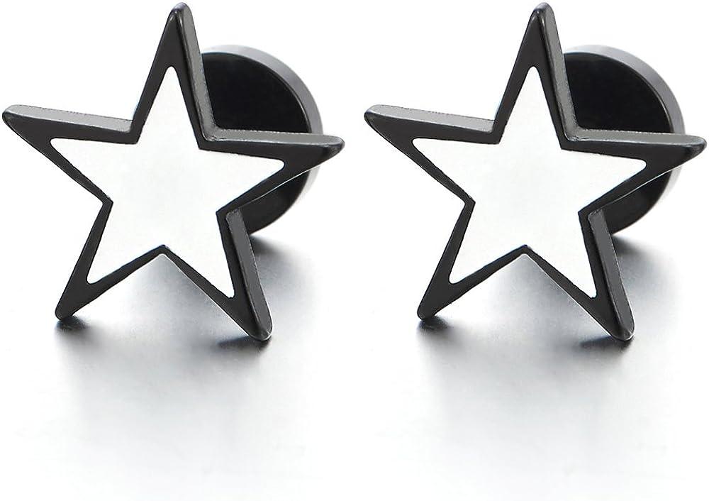 Stainless Steel Black White Stars Pentagram Stud Earrings for Men Women, Screw Back, 1 Pair