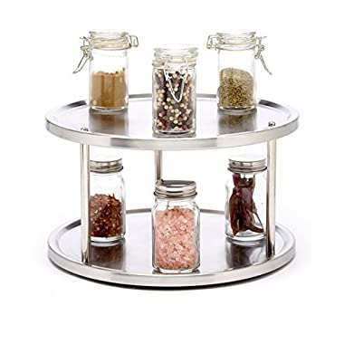 Sagler 2 Tier lazy susan turntable 360-degree lazy susan organizer use for a spice organizer or kitchen cabinet organizers stain-resistant