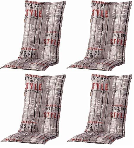 Madison 4 Stück Dessin Annabeth Sitzpolster für Klapppsessel, Stuhlauflage Hochlehner 75% Baumwolle, 25% Polyester, 123 x 50 x 8 cm