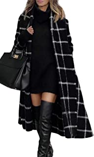 Womens Long Pea Coat Belted Wool Blend Overcoat with Hood