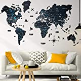 Wood World Map Wall Art Large Wall Decor - World Travel Map ALL Sizes (M L XL) Any Occasion Gift Idea - Wall Art For Home & Kitchen or Office