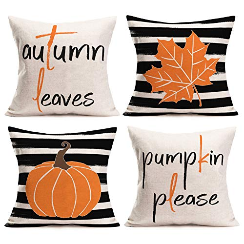 Gulidi Set of 4 Fall Decorative Throw Pillow Cover Autumn Farmhouse Watercolor Stripes Pumpkin Leaves Pillow Case Fall Thanksgiving Harvest Pillow Sham 18x18 Inches Square Pillowcases for Sofa Couch
