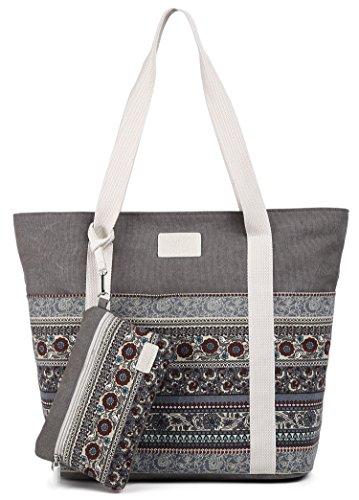 ArcEnCiel Canvas Tote Womens Shoulder Handbag with Purse (Gray)