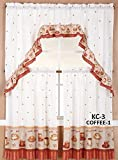Diamond Home Linen 3PC Kitchen Curtain Set, 2 Tiers (30' X 36' Each Tier) & 1 Swag Valance (60' X 36') (Coffee)
