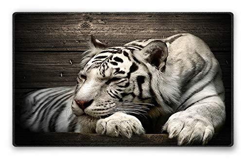 Silent Monsters Mauspad Größe S (240 x 200 mm) Stoff Mousepad Design: White Tiger, Vernähter Rand, geeignet für Büro und Gaming Maus