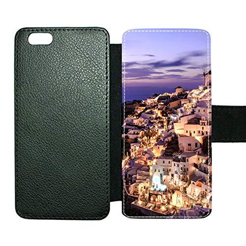 Soporte De Tarjeta De Caso De Portada De Libro De Estilo para El Hombre Diseño Santorini Bueno Compatible con Apple iPhone 6P 6Ps Choose Design 114-5